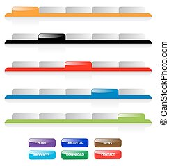 Set of vector aqua web 20 site navigation tabs and buttons...