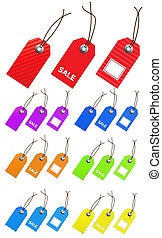 Collection of multicolored empty tags for marketing design. Perfect use adding text, numbers.