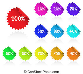 Collection of multicolored sticky discount label for marketing, promotion.