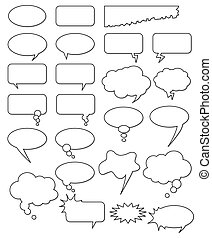 Collection of different empty vector shapes for comics or...