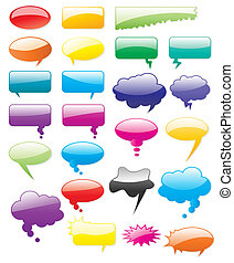 Collection of colored vector comics shapes Add text, easy to...