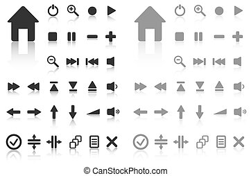 Collection of vector buttons with reflection Active and...