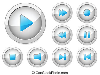 Set of stylish vector multimedia buttons. Aqua web 2.0. More...