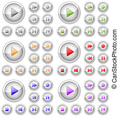 Set of stylish colored vector multimedia buttons. Aqua web...