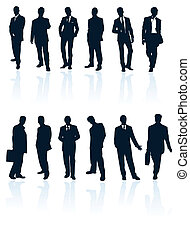 Set of dark blue vector businessman silhouettes with...