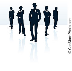 Silhouettes of vector business man and woman More in my...