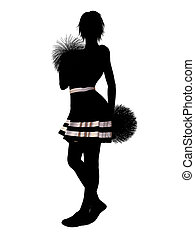 Cheerleader Illustration Silhouette - Female cheerleader...