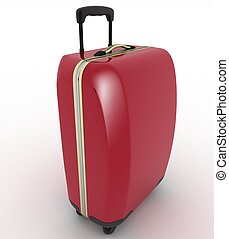 Suitcase for travel 3d illustration over white