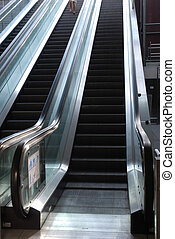 Isolated escalators at the airport
