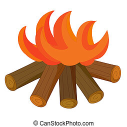 fire - illustraion drawing of Fire flames raising with wood