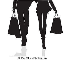 shopping - Silhouette of Young couple with shopping bags