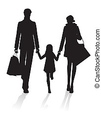 Family Shopping - Parents and Daughter with Shopping bags