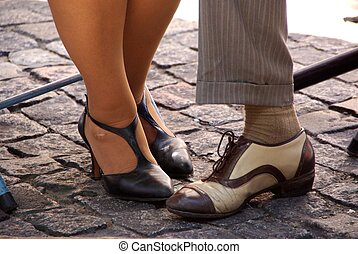 Feet in Buenos Aires, Argentina - Feet of tango dancers in...