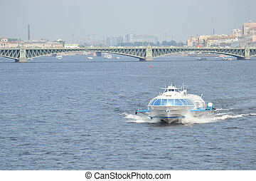 Meteor, hydrofoil boat in St Petersburg - Meteor, hydrofoil...