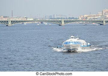 Meteor, hydrofoil boat in St. Petersburg. - Meteor,...
