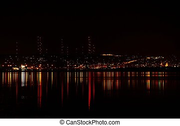 Duluth at Night - A calm night on Lake Superior reveals the...