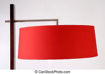 Floor lamp detail. Red lampshade