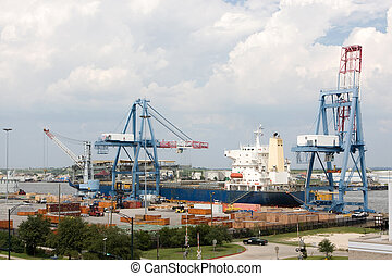Port Of Mobile, Alabama - A freighter is being loaded by...