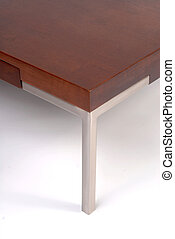Contemporary coffee table corner detail - Wooden and metal...