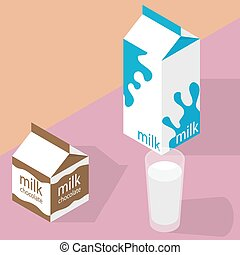 Milk and chocolate milk carton and glass of milk. Isometric...