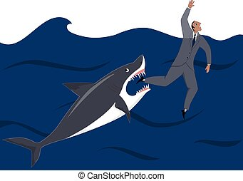 Businessman and shark - Shark is about to catch a drowning...