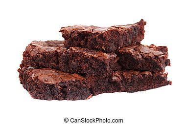 Brownies - Chocolate fudge brownies isolated on white...