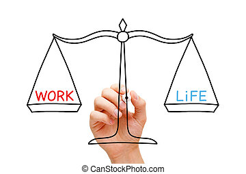 Work Life Balance Scale Concept - Hand drawing Work Life...