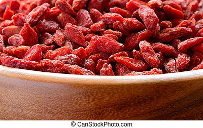 Wooden Bowl Full of Dried Goji Berries Healthy Diet