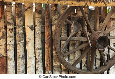 Rustic fence - Detail of a rustic wooden fence with an old...