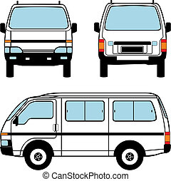 Minivan car, vector shapes - White minivan car, vector black...
