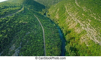 Krka river canyon aerial - Copter aerial view of the Krka...