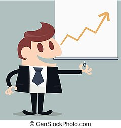 Businessman presented infographic cartoon eps 10 vector
