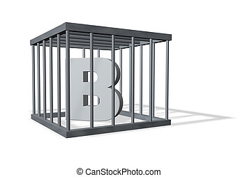 big b in prison - letter b in a cage on white background -...