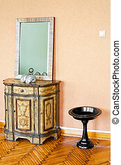 Cabinet and mirror - Vintage style cabinet and mirror in...