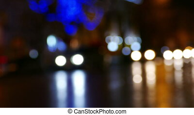 Evening City Street With Blurred Car Lights