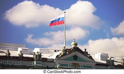 Flag On The Roof Of The Winter Palace