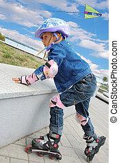 niño, En línea, patines
