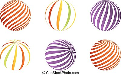 Collection of 6 different 3D balls - Set of 6 different 3D...