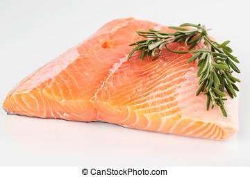 Raw salmon fillet isolated
