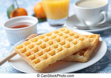 Breakfast with waffles - Breakfast with Belgian waffles,...