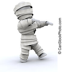 man in halloween mummy costume - 3d render of a man in...