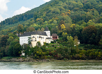 Pfarre Schonbuhel or Schoenbuehel on Danube riverbank - View...