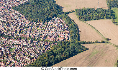 Suburban sprawl near Luton, England - Housing development...