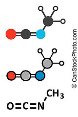 Methyl isocyanate (MIC) toxic molecule. Important chemical...