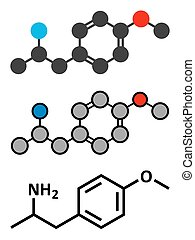p-methoxyamphetamine PMA hallucinogenic drug molecule...