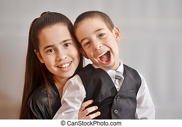 Bat Mitzvah girl with her brother - 12-year-old Israeli...