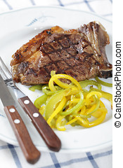 Grilled steak with pepper