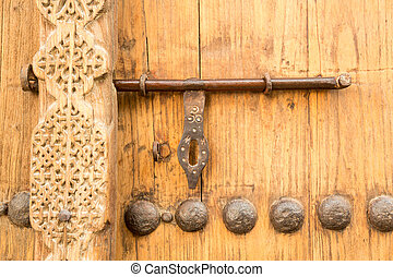 Shaikh Isa bin Ali House Bahrain - Detail of wooden door at...