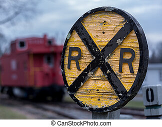 Old wooden railroad RR sign with caboose - Old fashioned...