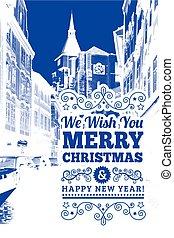 Prague city - City of Prague with Christmas holiday...